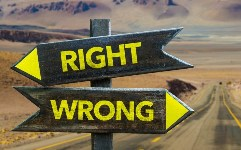 Right x Wrong crossroad